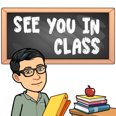 "A cartoon image of Mr. Clarke with books in front of a board that says, ""See you in class"""